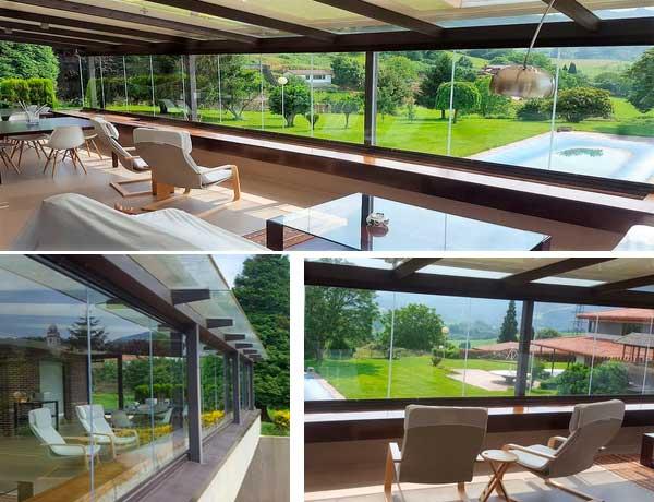 terraza con cortina de cristal